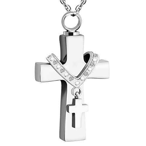 Dletay Cremation Jewelry for Ashes Memorial Ashes Keepsakes Necklace Urn Necklace with Filling Kit(Silver)
