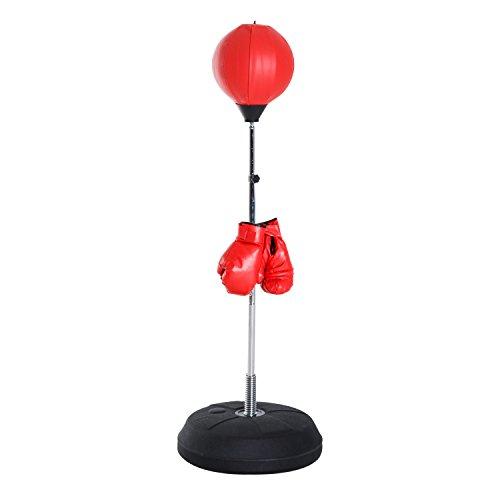 HOMCOM Punching Ball sur Pied réglable en Hauteur 126-144 cm avec Gants, Pompe et Base de lestage Rouge