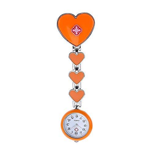 HYY-YY. Krankenschwester-Uhr-Brosche Krankenschwester hängend Uhr Herz-förmige Wand-Uhr-Legierung Sporter Taschenuhr (Farbe: Pink) (Color : Orange)