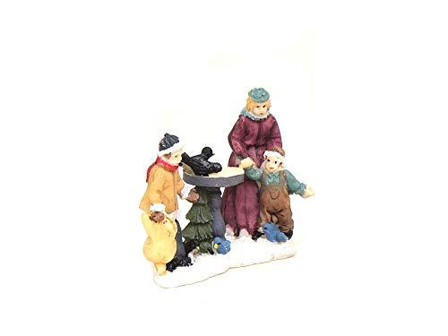 meindekoartikel Weihnachtliche Miniatur-Figuren Winterwelt-Szene aus Poly Höhe 6 cm – Familie an Vogeltränke