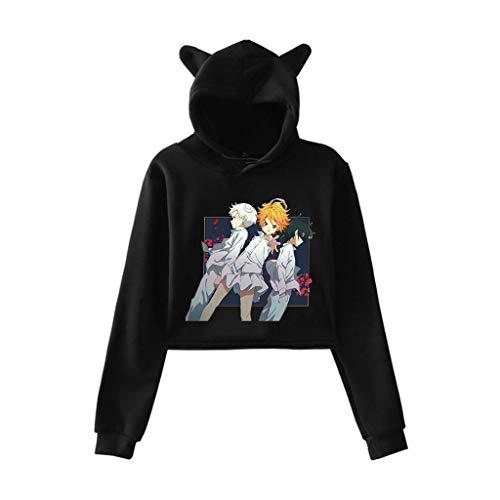 New The Promised Neverland Manga cropped moletom com capuz Emma Norman Ray cosplay anime 3D Orelha de gato cropped moletom com capuz, Preto, C, M