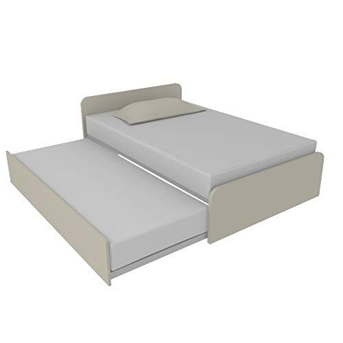 Schlafzimmer-Schrank 864R Bett 120 x 190 mit verstellbarem Doppelbett für Einzelbett und Doppelbett ausziehbar für Doppelbett, inklusive Netzen, Kopfteile, hergestellt in Italien