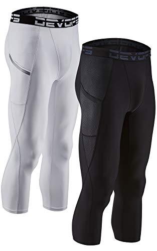 DEVOPS 2 Pack Men's 3/4 Compression Pants Athletic Leggings with Pocket (Large, Black/White)