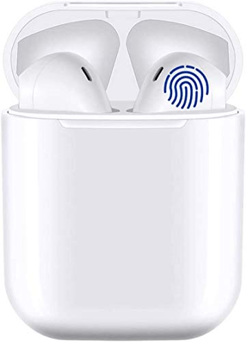i12 Bluetooth Headphones,Wireless Bluetooth 5.0 Earphones with Noise Reduction,Sport Earplugs IPX7 Waterproof Pop-ups Auto Pairing Fast Charging HD Mic Headsets,for Apple/Android/AirPods Pro/iPhone