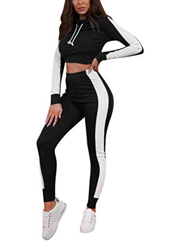 Minetom Mujeres Dos Piezas Chándal Conjunto de Ropa Deportivos Entrenamiento Fitness Yoga Sudadera con Capucha Crop Top y Pantalones Leggings Raya Lateral Negro ES 40