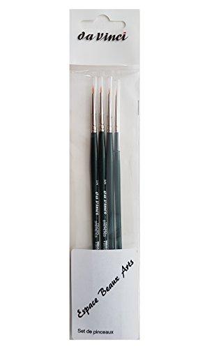 Da vinci serie 1570 Nova Pinceau synthétique rond , SET 4 PCS ,NO 0/2, 0/3, 0/5, 0/10, Pour aquarelle, peinture à l'huile et acrylique,Made in Germany
