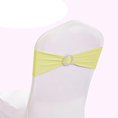 Teerfu Stretch-Stuhl-Bezüge, Hussen, Hochzeitsdekoration, elastische Stuhl-Schärpen / -Schleifen, Stuhl-Bänder mit Schnallen, 50 Stück hellgelb