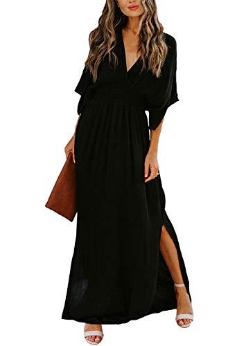 Meenew Women's Summer Casual Long Dress Plunge Neck Maxi Party Dress Black L