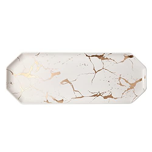 ZHHZ Plato de Desayuno de Bandeja de Plato de cerámica, Plato de Sushi Rectangular Rectangular para Comida Occidental, patrón de mármol de Estilo nórdico, hogar (Negro/Blanco)