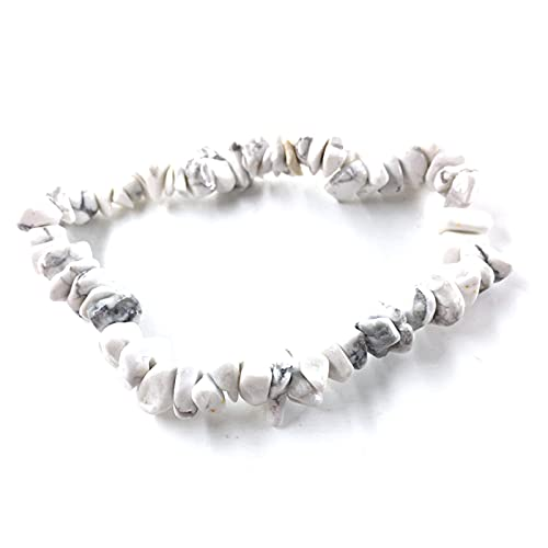XPT Pulsera, pulsera de piedra de forma irregular, cuerda elástica natural para mujeres y niñas, accesorios de joyería de color blanco puro