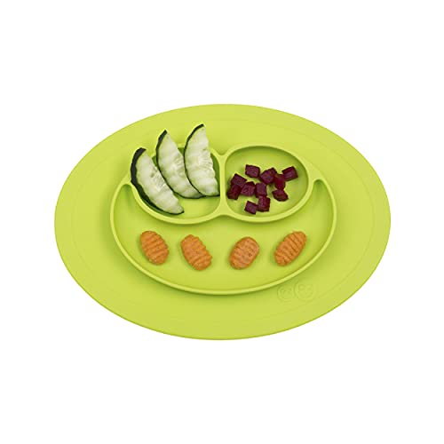 ezpz Mini Mat (Lime) - 100% Silicone Suction Plate with Built-in Placemat for Infants + Toddlers - First Foods + Self-Feeding - Comes with a Reusable Travel Bag, One Size 10.75x7.75x1 Inch (Pack of 1)