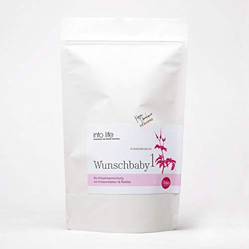 Wunschbaby 1   Bio-Zyklustee 90 g   into life   Kareen Dannhauer   Kräutertee aus Hebammenhand   biozertifiziert   in der 1. Zyklushälfte   mit Himbeerblättern und Rotklee