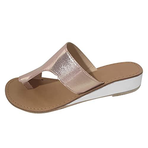 Sandali con Lacci alla Caviglia Flip Flop Sandali Tacco Donna Scarpe Donna Flip Flop Ciabatte Donna Legno ciabatt Bagno Donna (Y24-Gold,39)