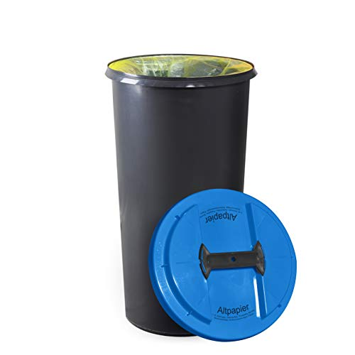 KUEFA BSC6 LA - 60L Mülleimer/Müllsackständer/Gelber Sack Ständer (Blau, Altpapier)
