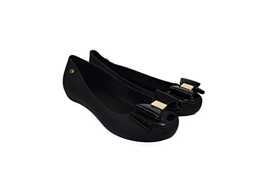 IVACHY Womens Jelly Ballet Shoes, Bow Details Slip-On Flats, Comfy Ladies Casual Wear Every-Day Closed Toe Ballerina Pumps Black