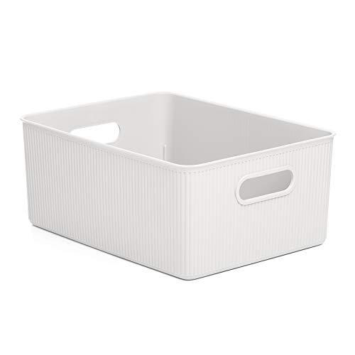Superio Desk, Drawer Organizer Basket, Plastic Storage Bins for Home, Vanity, Office, Closet, Durable Material to Classify, Cloths, Cosmetics, Stationary… (White, 15 Liter)