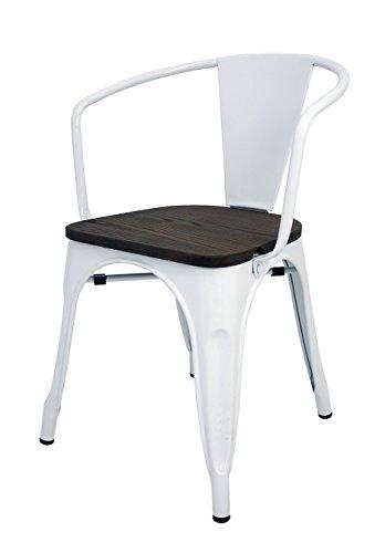 La Silla Española - Silla estilo Tolix con respaldo, reposabrazos y asiento acabado en madera. Color Blanco. Medidas 73x53,5x52