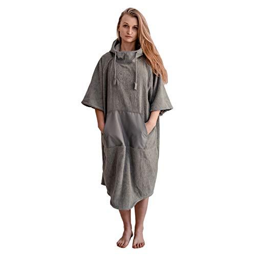 Saferide Poncho de baño con capucha, albornoz de 100 % algodón, tejido a mano, toalla de baño para vestir, poncho de surf para hombre y mujer, de secado rápido, color gris, talla M/L