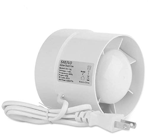 """SAILFLO Inline Duct Fan Booster 5 Inch 120mm 16W 141 CFM Low Noise Exhaust Blower for Air Circulation in Ducting, Vents, Bathroom, Kitchen, Grow Tent (5""""/110v)"""