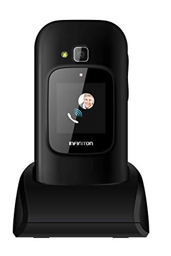 TELEFONO MOVIL INFINITON U1 con Tapa y Teclas Grandes para Mayores con Boton SOS (Negro)