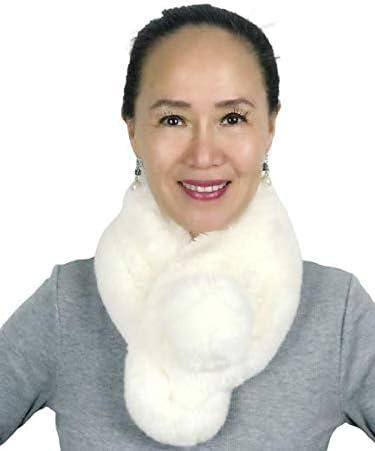 Elegant Soft Warm Faux Rabbit Fur Collar Scarf for Women