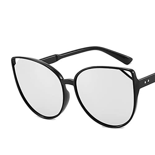 HHuin Ojo de gato película colorida gran marco gafas de sol retro gafas de sol conducción gafas de sol para mujeres señora