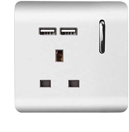 Trendi - Enchufe USB para interruptor, color plateado brillante