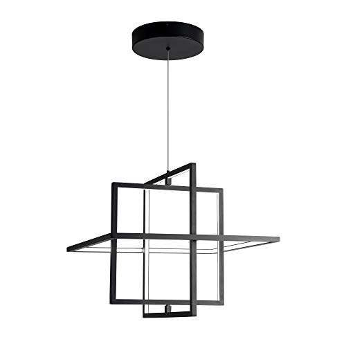 SUNMOO Modern LED Pendant Light, Dimmable Square Light, Adjustable Contemporary Chandelier, 90W 6000K Cool Light, Fixture for Living Room, Dining Room, Bedroom (Black)