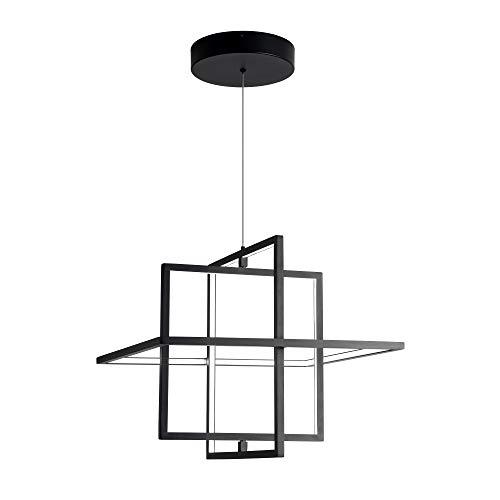 SUNMOO Modern LED Pendant Light, Dimmable Square Light, Adjustable Contemporary Chandelier, 90W 6000K Cool Light, Fixture for Living Room, Dining Room, Bedroom (Black)