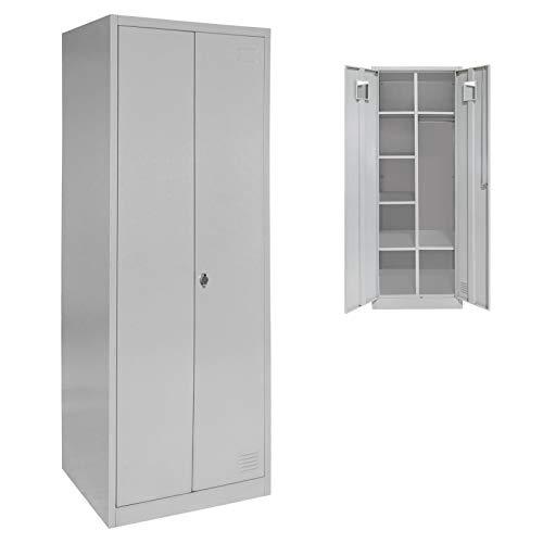 Spind Garderobenschrank Doppelspind Metallschrank 180 x 60 x 50 mit Flügeltüren, Einlegeböden und Kleiderstange, Farbe:Grau-Grau
