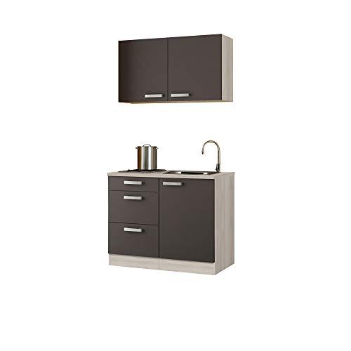 Singleküche BARCELONA - Miniküche mit Glaskeramik-Kochfeld und Spüle - Breite 100 cm - Grau/Akazie Dekor