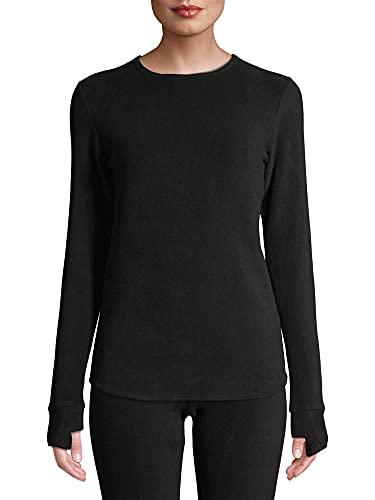 Cuddl Duds Women's Fleecewear with Stretch Crew Neck, Black, Medium