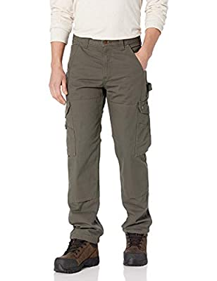 Carhartt Men's Ripstop Cargo Flannel Lined Work Pant, Moss, 38W X 34L