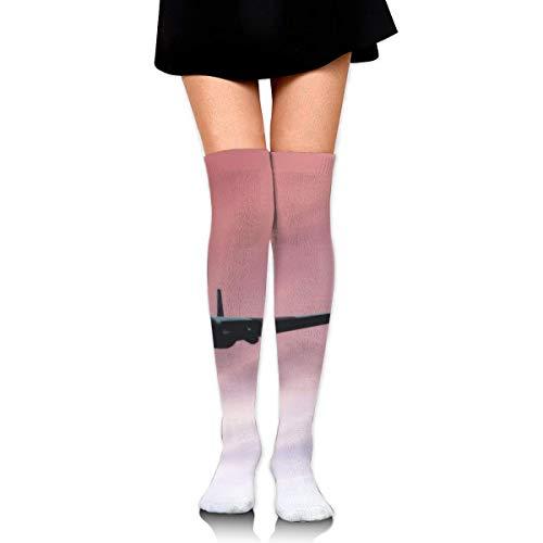 Zwarte Vliegtuig Katoen Compressie Sokken voor Vrouwen Afgestudeerde Kousen voor verpleegkundigen, Zwangerschap, Reizen, Vlucht, Spataderen, Hardlopen & Fitness, Kalf Ondersteuning
