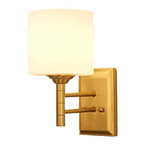 GANE Lámpara de Pared LED para Interiores, Cobre, Sala de Estar, lámpara de Noche para Dormitorio, Pasillo, Pasillo, baño, Espejo, Frente [A ++]