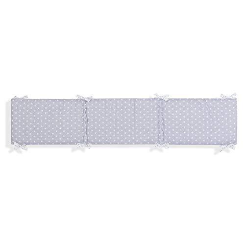 Interbaby Tour de Lit Bébé Coton Modèle Etoile Gris 40 x 226 cm