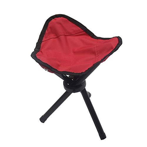 FH Tabouret Pliant en Plein Air, Poche Portable Chaise Pliante À Trois Pattes Pêche Chaise De Camping Barbecue Chaise Longue, Bleu Rouge en Option (Taille : Red)