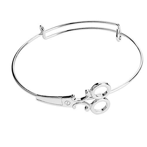 Trendy Frauen Schere Design Armband, Schere Armband Mode Legierung Schmuck, verstellbare Öffnung Armband Armreif, für Paar Schmuck Lady Geschenk (Silber)