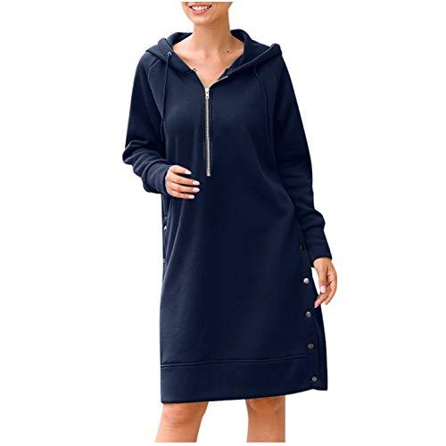XLKJ 2020 Fashion Womens Button Zip Up Tunic Sweatshirt Long Hoodie Blouse Top Long Sleeve Fashion Casual Tops Blue