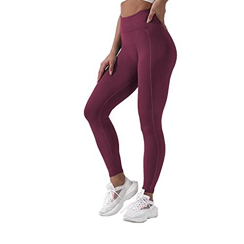 QTJY Pantalones de Yoga elásticos y Suaves Sexis para Mujer, Medias de Cintura Alta a la Cadera, Push-ups sin Costuras, Celulitis, Ejercicio, Gimnasio, Pantalones Deportivos I S