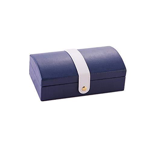 SUQ Caja Joyero Pequeña, Joyeros Mujer Organizador, Joyero de Viaje Cajas, Joyero Accesorios, Decorativas Cajas para Joyas para Anillos, Pendientes, Pulseras y Collares (Azul Oscuro)