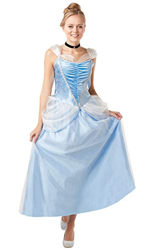 Rubie's officiële Disney prinses Assepoester volwassen kostuum, luxe chique jurk, dames maat medium UK 12-14