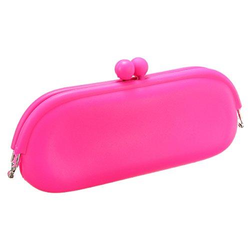 C-FUN Gafas De Anteojos Cubierta Suave Bolsa Caso Silicona Bolsa - Rosa Roja