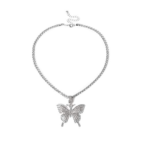 H&Z Statment Big Butterfly Pendant Necklace Rhinestone Chain for Women Bling Silver Chain Crystal Choker Necklace Jewelry - Silver