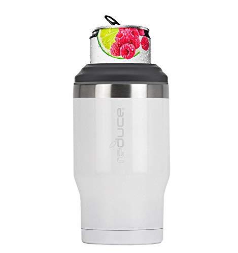 REDUCE 4-in-1 Stainless Steel Bottle and Can Insulator – This Drink Cooler Keeps Bottles, Cans, Skinny Cans and Mixed Drinks Ice Cold – Sweat-Free, Perfect for Outdoor Drinking - White