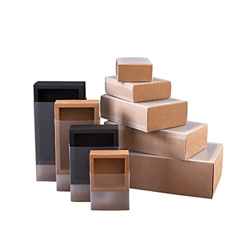 BYZYA Cajas de Pastel de 10pcs Caja de Embalaje de Papel Kraft con Transparente CLORURO DE POLIVINILO Ventana Negro Delicado cajón Pantalla Caja de Regalo Boda Galleta Caramelo Cajas de Pastel