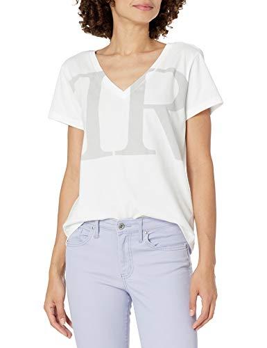 True Religion TR Classic Vneck Camiseta, Blanco (Optic), L para Mujer