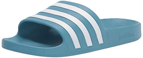 adidas Women's Adilette Aqua Slide Sandal, Hazy Blue/White/Hazy Blue, 7