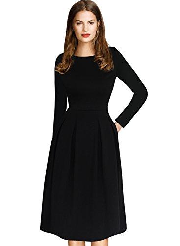 VfEmage Womens Vintage Summer Polka Dot Wear to Work Casual A-line Dress 8679 BLK 18