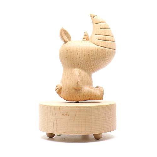 WYZQ Caja de música Caja de música de Madera Madera de Alta sostenibilidad Hecha a Mano, Regalo niña, Regalo de cumpleaños Caja Musical Regalos (Rinoceronte, El Viaje de Chihiro), Cajas